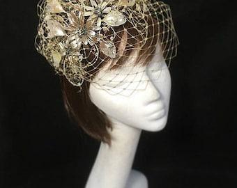 Mink fascinator, mother of the bride, Summer wedding, wedding hat, beige fascinator, Bespoke hat, beige hat