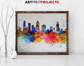 Montreal print, watercolor poster, wall art, Montreal Canada skyline, travel poster, Montreal watercolor print, home decor, ArtPrintProjects