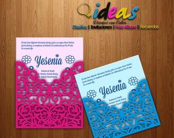 On wedding invitation, XV Años, wedding invitation, laser cut, files (SVG, DFX, AI, Corel), Laser cut, Silhouette cameo.