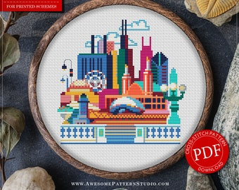 Chicago Cross Stitch Pattern for Instant Download *P077 | Easy Cross Stitch| Counted Cross Stitch|Embroidery Design| City Cross Stitch