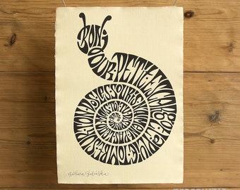 Petit Escargot | Calligram Print on Handmade Paper