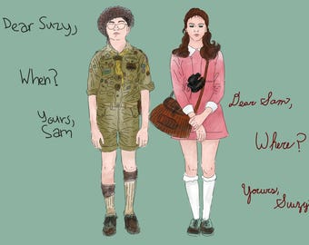 Moonrise kingdom Sam and Suzy - digital illustration print