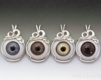 Hazel, Blue, Green, Brown, or Bobcat Glass Eye Eyeball Sterling Silver Wire Wrapped Pendant