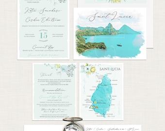 Saint Lucia Beach Destination illustrated wedding invitation St Lucia Wedding Turquoise Watercolor Blue Map - Deposit Payment