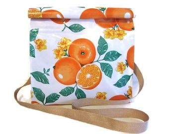 Bag, Oilcloth Lunch Snack Orange Shoulder Bag Shoulder Strap Reusable Vintage Handmade USA Gifts For Her Gifts For Women