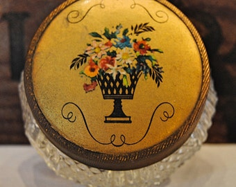Vintage Makeup Jar with Floral Lid Design