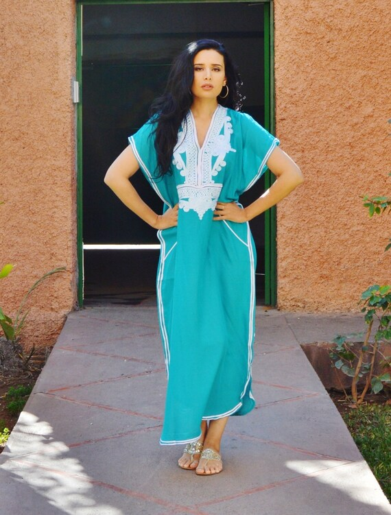 Bridesmaid robe, Bridesmaid gifts Emerald Green Marrakech Resort Kaftan-wholesale, beach kaftan, beach wedding, bridal shower party favors