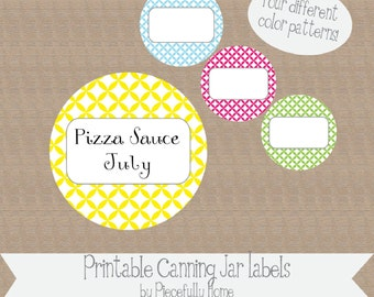 "Printable and Editable ""Ovals"" Canning Jar Labels, 2 inch, four colors"