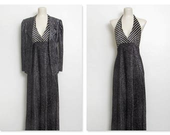 1970s Disco Dress and Jacket Set / Black & Silver Metallic Thread Halter Maxi Dress and Blazer / Vintage 70s Mindy Malone 2 Pc.
