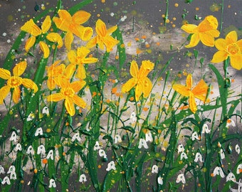Giclee original fine art print, daffodils and snowdrops (limited edition)