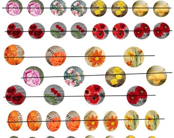 """Digital images """"No. 4"""" round flowers 20 and 25mm and oval 18x25mm"""