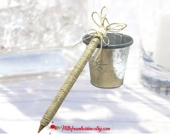 Country, natural rope Wedding guest book pen