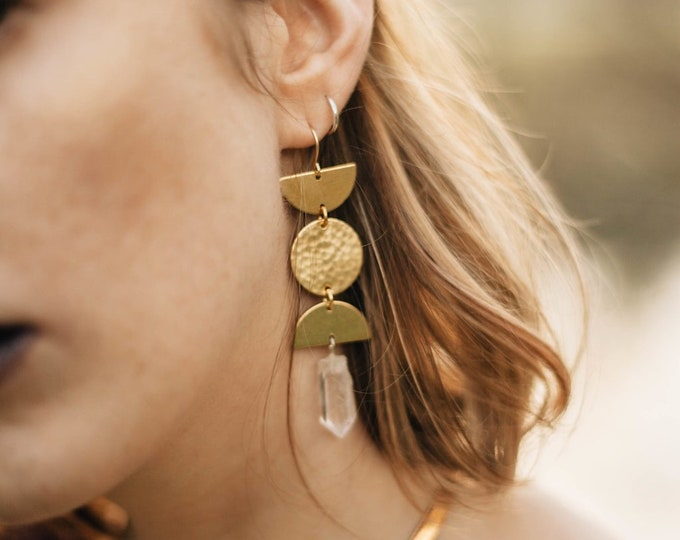 Featured listing image: Prophetess Moon Phase Earrings with Quartz Crystal / Lilith of the South Collection
