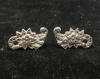Vintage Sterling Silver and Marcasite Screw Back Earrings MARKED