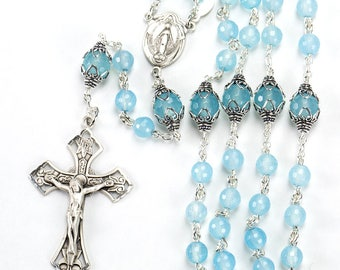 Sea Blue Chalcedony Rosary, Gift for Women & Catholic Mothers - Miraculous Medal, Sterling Silver - Custom, Heirloom, Handmade Rosaries