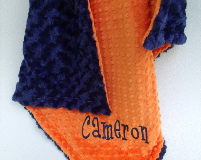 Orange and Navy Swirl Minky Baby Blanket