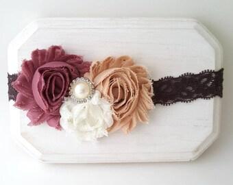 Brown Lace Headband - Lace Headband - Mauve Headband - Lace Baby Headbands - Fall Headbands - Thanksgiving Bow - Fall Baby Headband