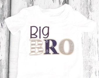 Big Brother nautical shirt Big Bro navy Nautical t-shirt Baby Anchor family shirts baby boy first birthday nautical add parents shirts