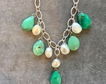 Summer sterling silver set,  necklace with pearls and green chalcedony, sterling silver chain and pearl earrings set