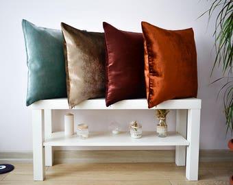 velvet pillow cover, velvet cushion cover, 16x16, 18x18, 20x20 copper velvet decorative pillow, copper velvet throw pillow, sofa pillow