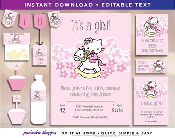 Hello Kitty Baby Shower Party Printables / Invitation - INSTANT DOWNLOAD - Fully EDITABLE text