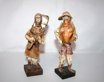 Two Vintage Old Men Hand Crafted Folk Art Paper Mache Figures! Made in Mexico /MEMsArtShop.