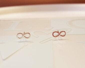 Sterling Silver. Silver Dainty Infinity Earring