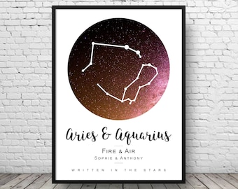 Couples Star Sign Print - Constellation Wall Art - Custom Couples Gift - Couples Zodiac Print - Custom Partner Gift - Double Star Sign