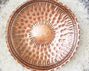 Large solid copper platter/wall hanging