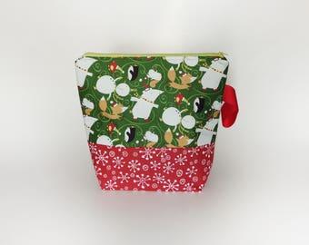 Medium Knitting Project Bag, Cute Animals Project Bag, Festive Project Bag, Christmas Knitting Bag
