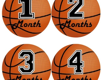 Custom first seasons holidays seasonal baby girl boy monthly baby monthly milestone growth stickers in basketball sports ms505 nursery theme baby boy shower gift photo prop negle Choice Image