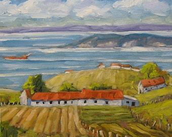 Vast Horizon - Mini Original Oil Painting - View to the lake - Cdn Landscape - created by Prankearts