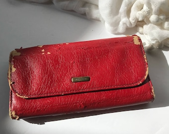 Nine West Distressed Womens Checkbook Wallet / Red