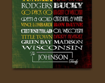 Personalized University of Wisconsin Badgers / Green Bay Packers Packers House Divided: Print or Canvas. Badgers Packers. vintage.