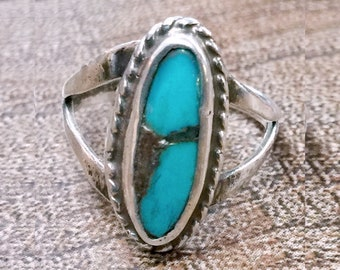 Native American Turquoise + Sterling Silver Ring Size 5