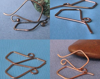 Hammered Copper Ear Wires, Handmade Earring Components, 4 pack Signature Kite Earwires
