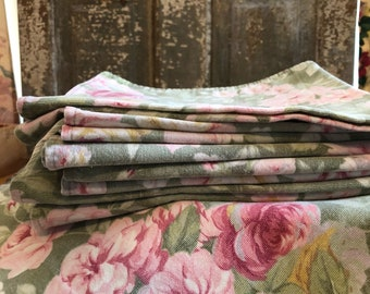 Vintage roses on sagey jadite color set of 8 huge napkins or placemats