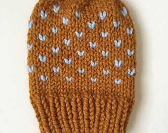Handknit women's beanie // blue and yellow beanie// fair isle beanie