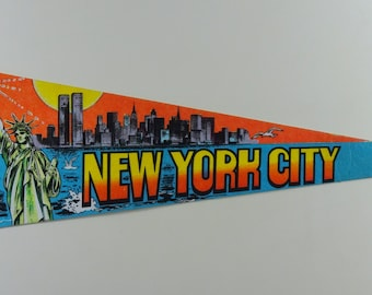 New York City Souvenir Pennant, Vintage Pennant, Large Tourist Flag, NYC Statue of Liberty