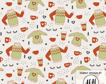 Sweaters and Coffee Fabric By The Yard / Hygge Fabric / Sweater Fabric / Coffee Fabric / Modern Cozy Sweater Print in Yard & Fat Quarter