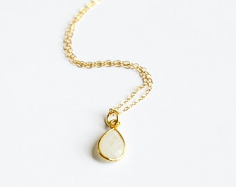 Dainty Gold Necklace, Moonstone Necklace, Gold Necklace, Simple Necklace, Layering Necklace,  Dainty Gold Necklace, Bridesmaid Necklace