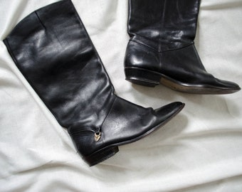 Etienne Aigner boots | black leather boots | flat black boots | knee high leather boots | size 7.5 boots