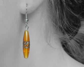 Vintage Long Orange Beaded Hanging Pierced Earrings