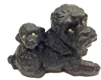 2 BLACK DOGS - 1980 - Coal Figurine - V.C.P. - Made in USA from Coal - Poodles? w/Googly Eyes