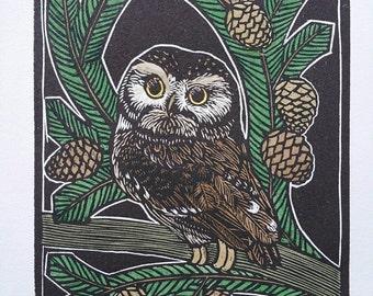 Woodlands Owl Artwork - Nursery Art - Owl Artwork - Wood Engraving