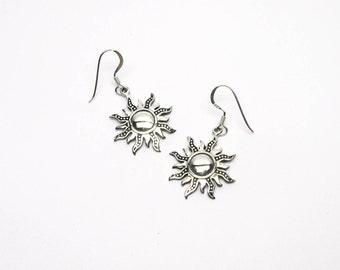 Sun Sunny Earrings Sterling silver 925 Pendant earrings