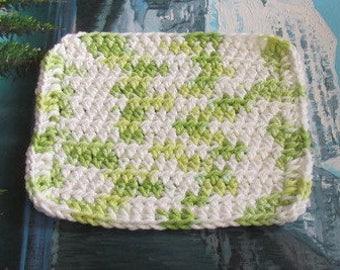 Hand crochet cotton dish cloth 6.5 by 6.5 cdc 114