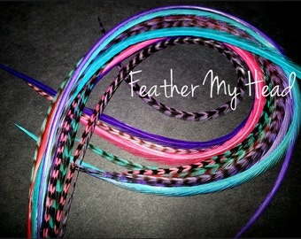 16 Feather Hair Extensions, Long Whiting Grizzly Real Rooster Feathers, 9-12 inches long, Cotton Candy