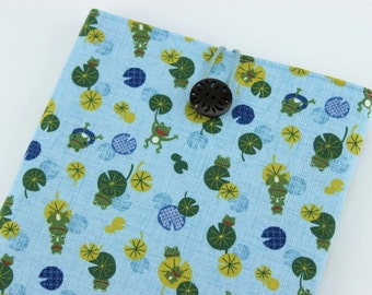Kobo Touch, Kindle Paperwhite, iPad Mini Sleeve Cover Case, Frogs Light Blue