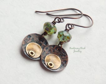 Vortex Mixed Metal Earrings with Pale Blue Glass Bead Dangle, Oxidized Gold Brass Riveted to Copper, Simple But Unusual Metalwork Jewelry